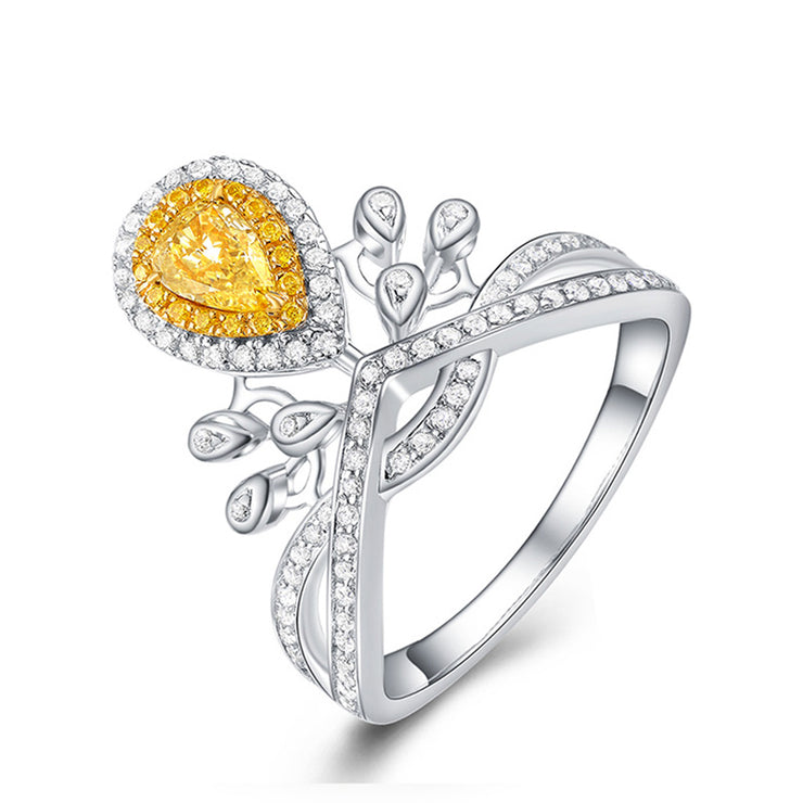 Wiley Hart Fancy Yellow Pear Shape Designer Sapphire Ring Engagement Ring Gold or Silver