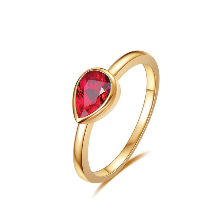 Wiley Hart Like A Leaf Red Sapphire Elegant Women's Ring in White Gold or Silver