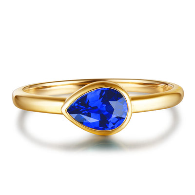 Blue Sapphire Ring Pear Solitaire Engagement Ring Gold or Silver Wiley Hart