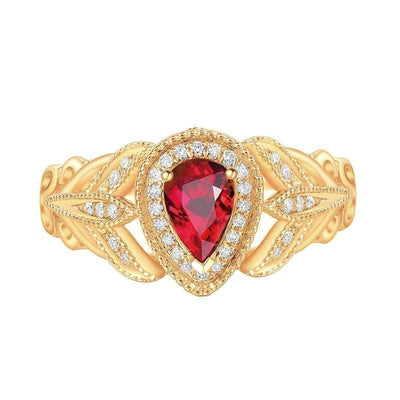 Wiley Hart Designer's Choice Red Sapphire Pear Shape Ring in 14K Gold or Silver