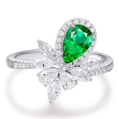 Wiley Hart Green Sapphire Engagement Ring Cocktail Ring Pear Shape in White Gold or Silver