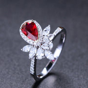 Wiley Hart Red Sapphire Pear Cut Women's Ring Cocktail Ring in White Gold or Silver