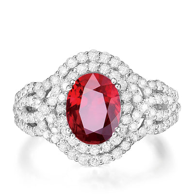 Wiley Hart Luxurious Handcrafted Red Sapphire Engagement Ring in White Gold or Silver