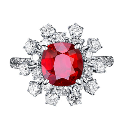 Wiley Hart Full of Sparkle Unique Red Sapphire Engagement Ring in White Gold or Silver