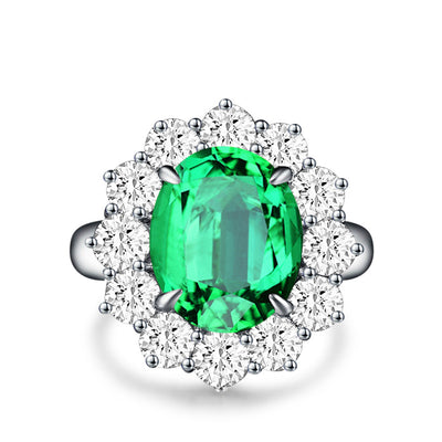 Wiley Hart Green Sapphire Engagement Ring Cocktail Ring in White Gold or Silver
