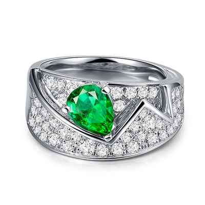 Wiley Hart Designer Ring Band Green Sapphire Women's Ring in White Gold or Silver