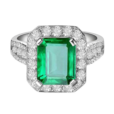 Wiley Hart Emerald Green Sapphire Engagement Ring Sparkly Halo in White Gold or Silver