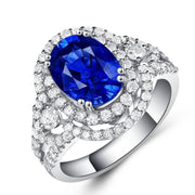 Double Halo Blue Sapphire Ring Engagement Ring White Gold or Sterling Silver Wiley Hart