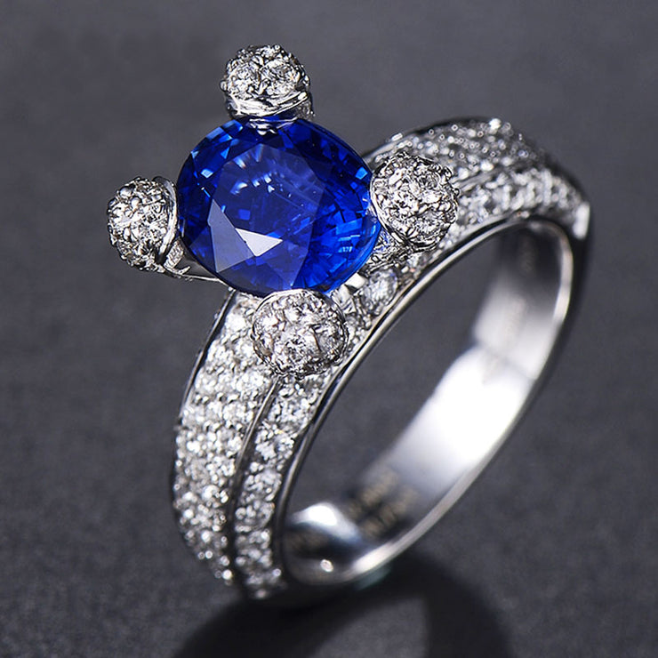 Wiley Hart Extremely Cute Blue Sapphire Women's Ring Band White Gold or Sterling Silver
