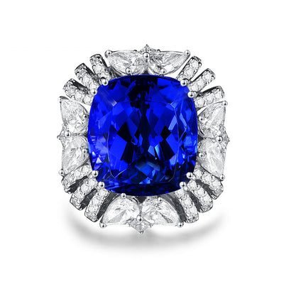 Wiley Hart I-Am-The-Boss Blue Sapphire Cocktail Ring White Gold or Sterling Silver