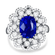 Wiley Hart Exquisite Cushion Blue Sapphire Engagement Ring White Gold or Sterling Silver