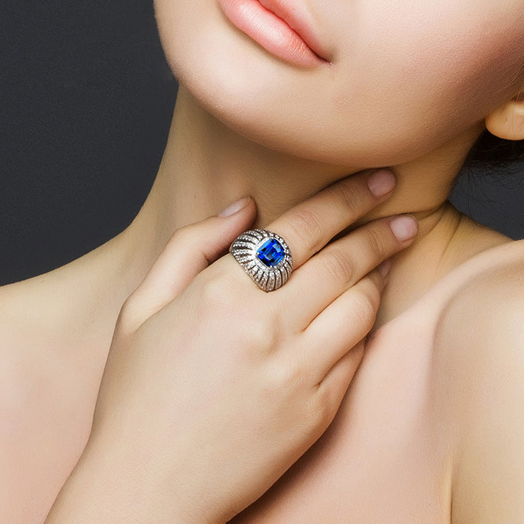 Wiley Hart Stunning Radiant Blue Sapphire Cocktail Ring White Gold or Sterling Silver