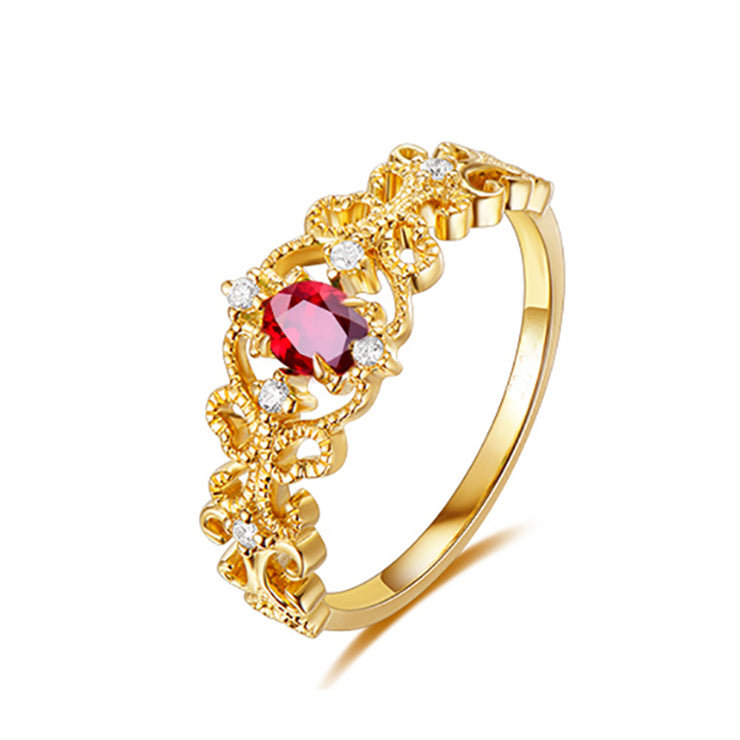 Wiley Hart Pretty Office Lady Red Sapphire Women's Ring in White Gold or Silver