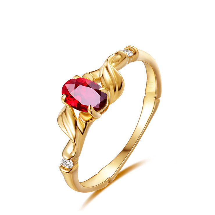 Wiley Hart Heart of Gold Red Sapphire Engagement Ring Fashion Ring in Gold or Silver