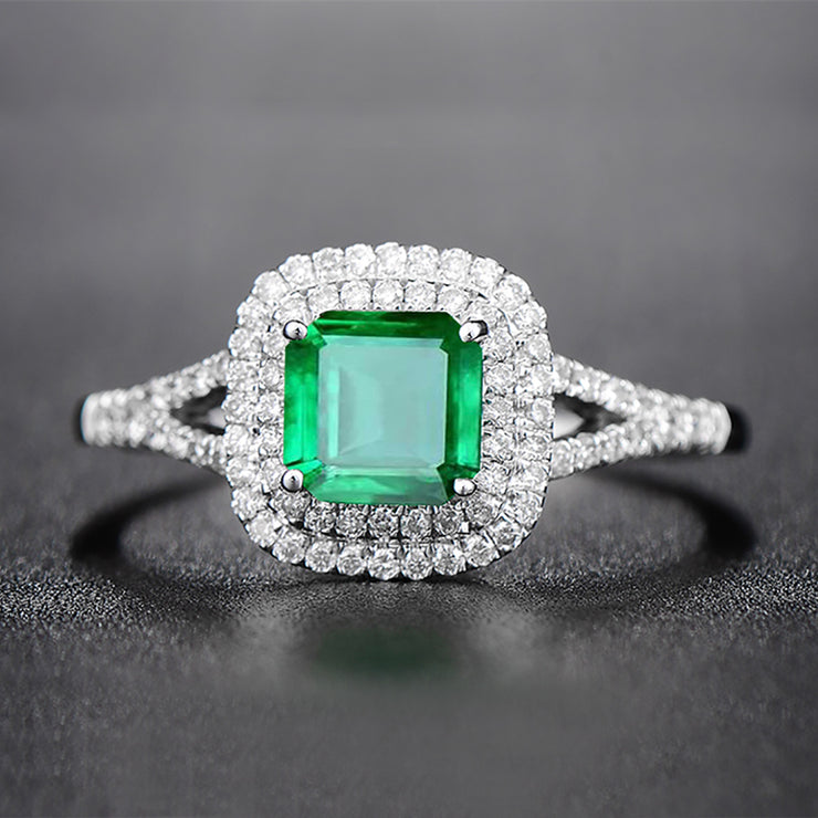 Wiley Hart Emerald Cut Double Halo Green Sapphire Engagement Ring in White Gold or Silver