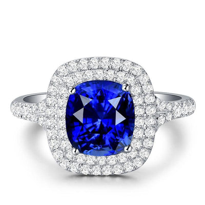 Double Halo Split Shank Blue Sapphire Engagement Ring Cushion Cut White Gold or Sterling Silver Wiley Hart