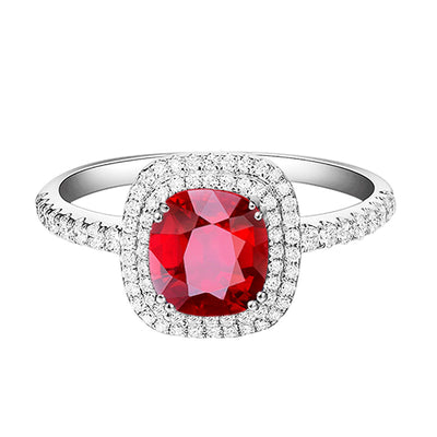 Wiley Hart Double Halo Cushion Red Sapphire Engagement Ring in White Gold or Silver