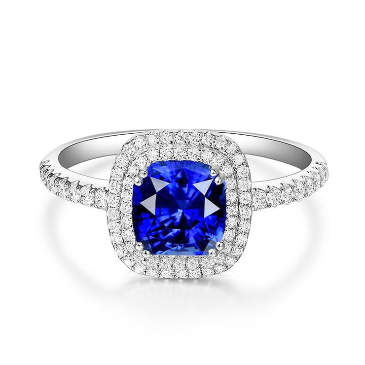Wiley Hart Cushion Cut Diamond Ring Blue Lab Created Sapphire Engagement Wedding Rings White Gold or Silver