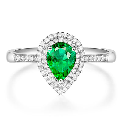 Wiley Hart Beautiful Pear Cut Green Sapphire Engagement Ring in White Gold or Silver