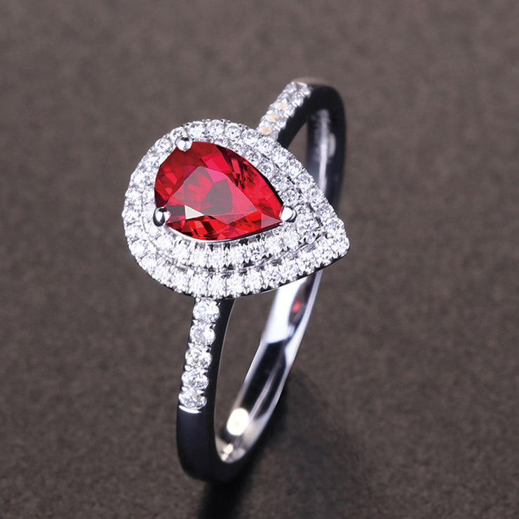 Wiley Hart Double Halo Red Sapphire Engagement Ring Pear Anniversary Ring Gift in White Gold or Silver
