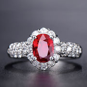 Wiley Hart Dreamy Sparkle Red Sapphire Engagement Ring in White Gold or Silver