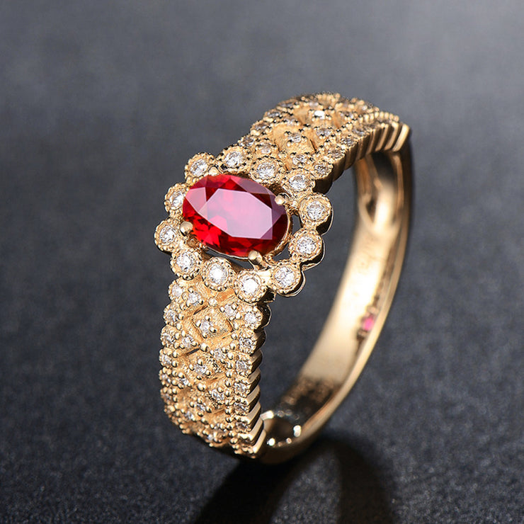 Wiley Hart Vintage Red Sapphire Band Women's Ring in 14K Gold or Silver