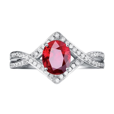 Wiley Hart Red Sapphire Engagement Ring Twisted Shank in White Gold or Silver