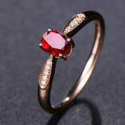 Wiley Hart Rose Gold Lovely Red Sapphire Women's Ring Band in White Gold or Silver