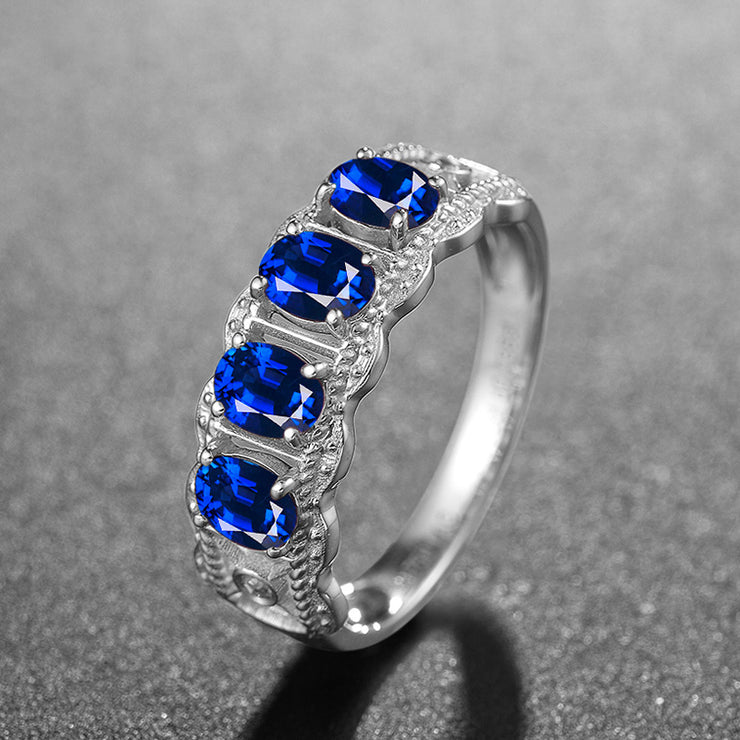 Wiley Hart Oval Blue Sapphire Wedding Ring Wedding Band White Gold or Sterling Silver