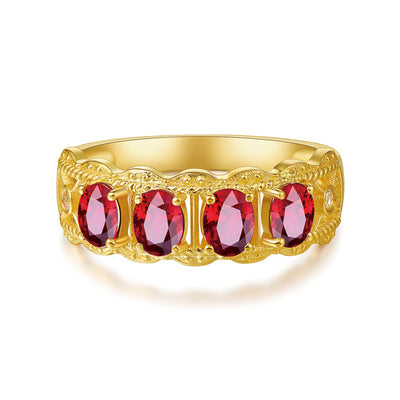 Wiley Hart Red Sapphire Wedding Ring Wedding Band in White Gold or Silver