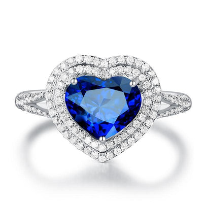 Pure Heart Blue Sapphire Engagement Ring White Gold or Sterling Silver Wiley Hart