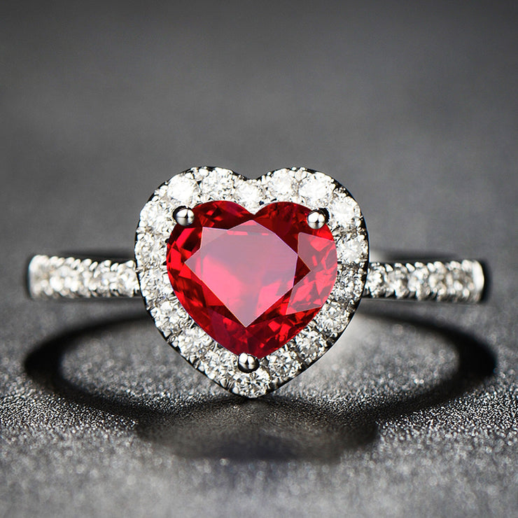 Wiley Hart Heart of Romance Red Sapphire Engagement Ring in White Gold or Silver