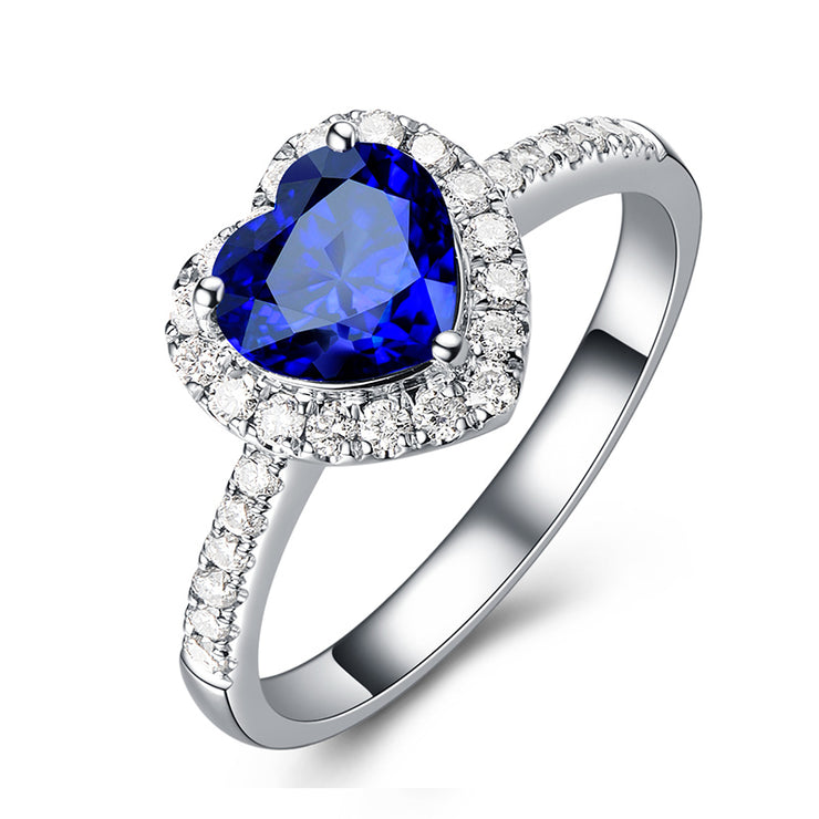 Heart Shape Blue Sapphire Ring Halo Engagement Ring White Gold or Sterling Silver Wiley Hart