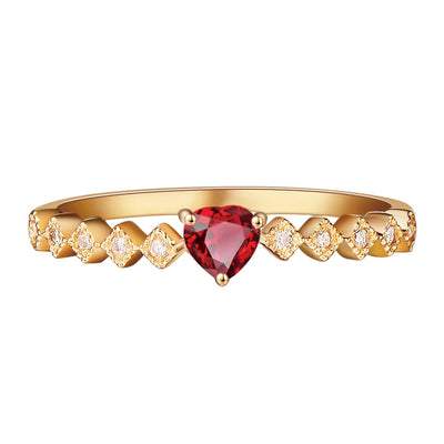 Wiley Hart Red Sapphire Women's Ring Women's Band Anniversary Ring in White Gold or Silver