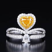 Wiley Hart Designer Fancy Yellow Heart Shape Sapphire Ring Women's Ring Gold or Silver