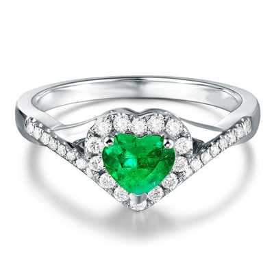 Wiley Hart Heart Shape Green Sapphire Engagement Ring in White Gold or Silver