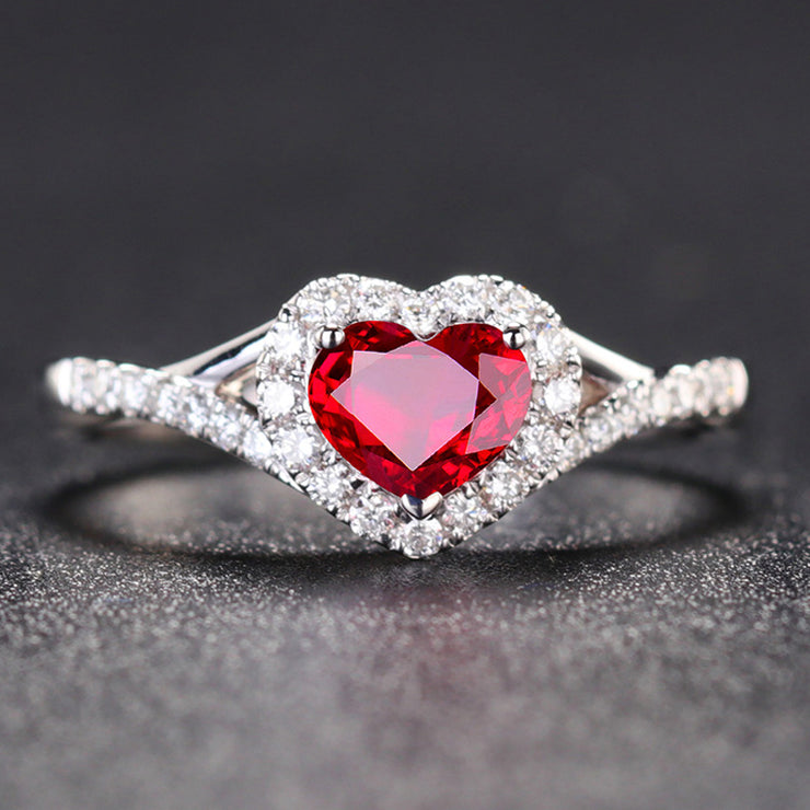 Wiley Hart Red Heart Sapphire Engagement Ring Anniversary Ring Anniversary Gift in 14K Gold or Silver
