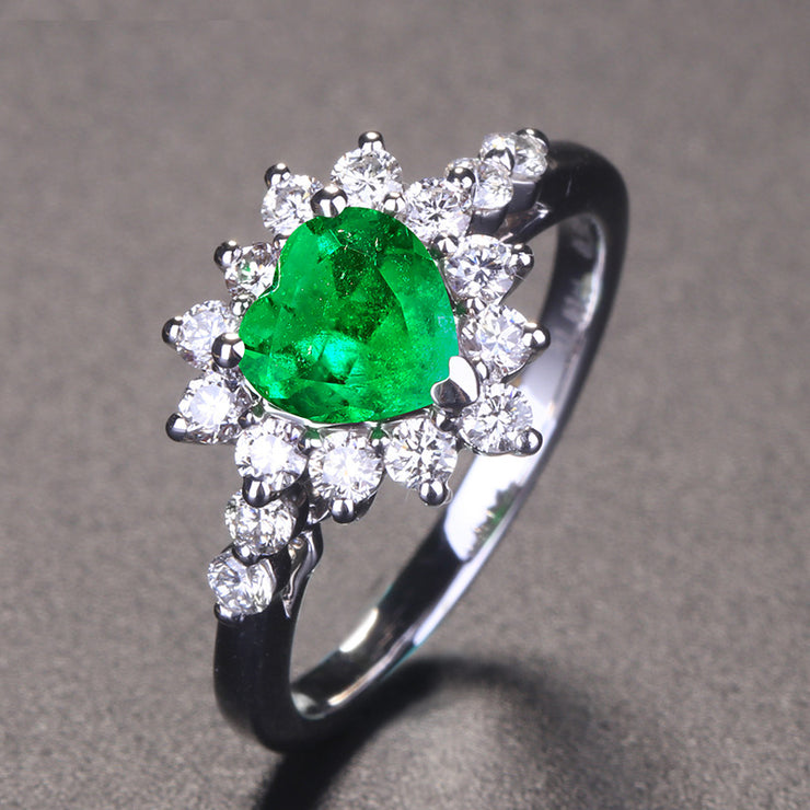Wiley Hart Sparkly Heart Green Sapphire Engagement Ring in White Gold or Silver