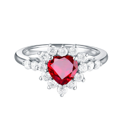 Wiley Hart Sparkly Heart Red Sapphire Engagement Ring in White Gold or Silver