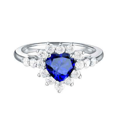 Dainty Heart Shape Blue Sapphire Engagement Ring White Gold or Sterling Silver Wiley Hart