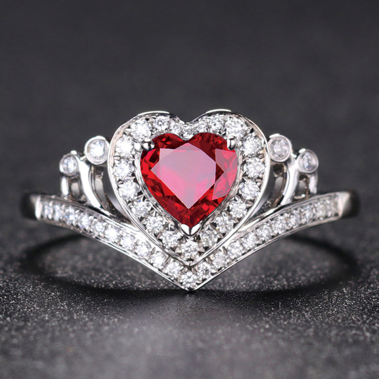 Wiley Hart Red Heart Sapphire Engagement Ring Anniversary Gift in White Gold or Silver
