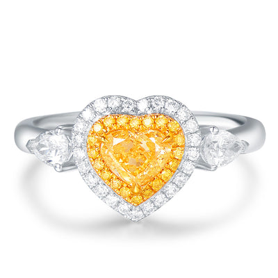 Wiley Hart Heart Shape Yellow Sapphire Engagement Ring Women's Ring White Gold or Silver