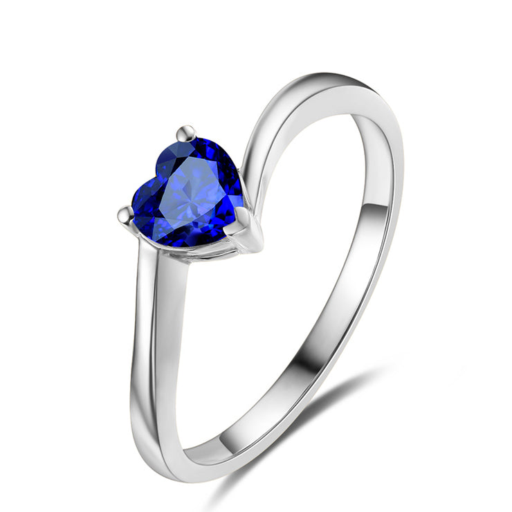 Blue Sapphire Solitaire Heart Women's Ring White Gold or Sterling Silver Wiley Hart
