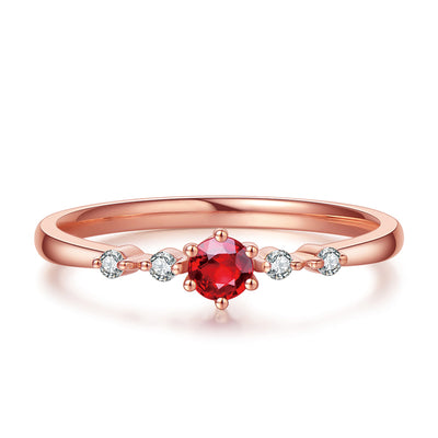 Wiley Hart Red Sapphire Women's Stackable Ring Women's Band Anniversary Ring in Gold or Silver