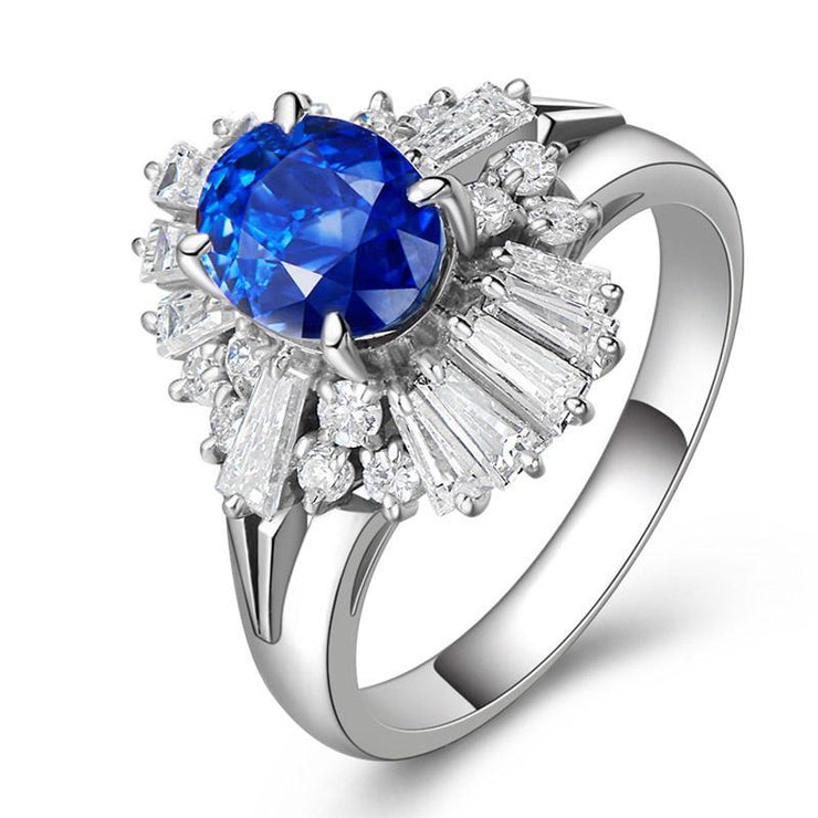 Wiley Hart Exciting Blue Sapphire Cocktail Ring White Gold or Sterling Silver