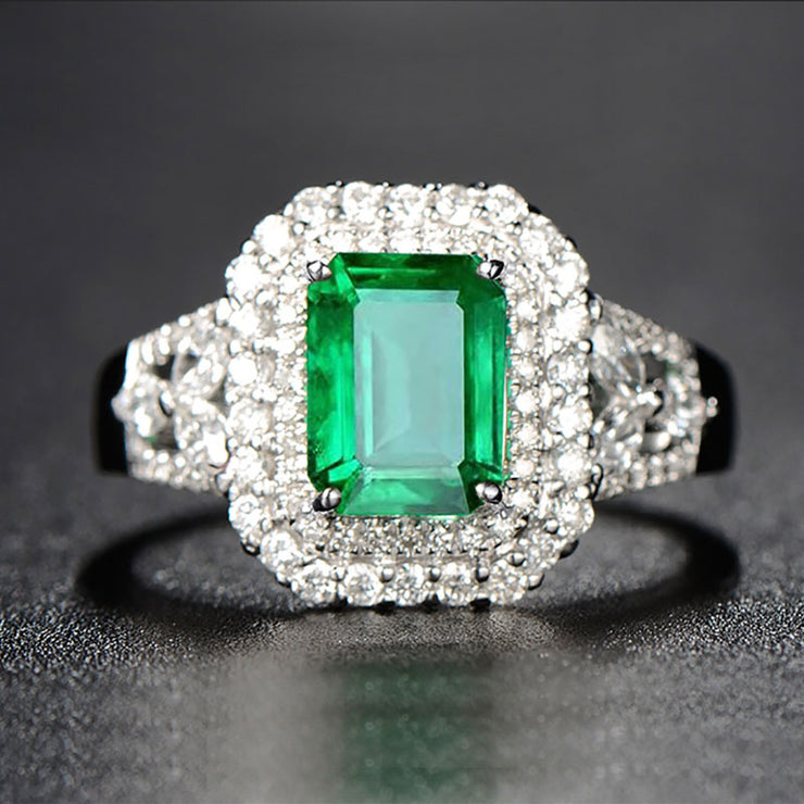 Wiley Hart Stunning 1.88 Carat Emerald Cut Green Sapphire Engagement Ring in White Gold or Silver
