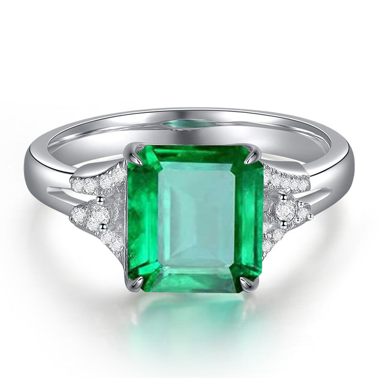 Wiley Hart Luxurious Handcrafted Emerald Green Sapphire Engagement Ring in White Gold or Silver