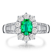 Wiley Hart Exquisite Green Sapphire Engagement Ring Oval Cut in White Gold or Silver