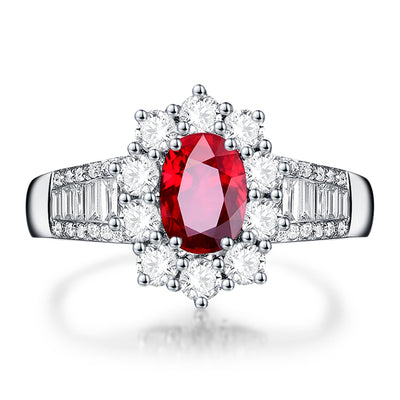 Wiley Hart Heart of Gold Red Sapphire Engagement Ring in White Gold or Silver