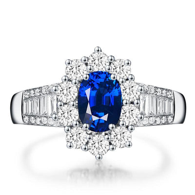 Wiley Hart Luxurious Blue Sapphire Engagement Ring White Gold or Sterling Silver